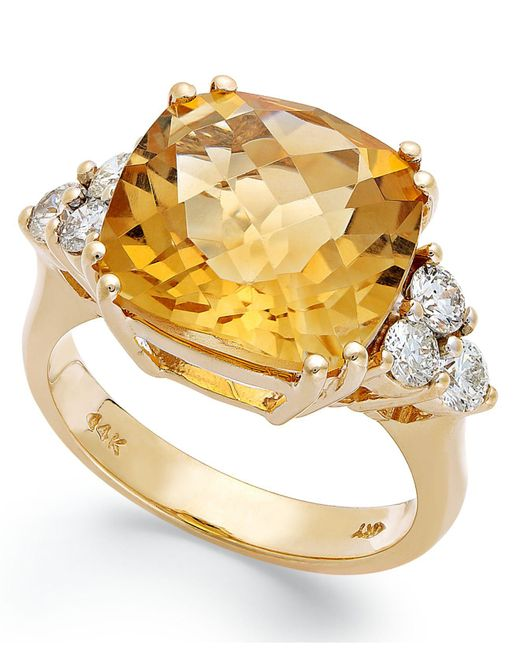 Macy's - Metallic 14k Gold Ring, Citrine (7 Ct. T.w.) And Diamond (5/8 Ct. T.w.) Cushion-cut Ring - Lyst