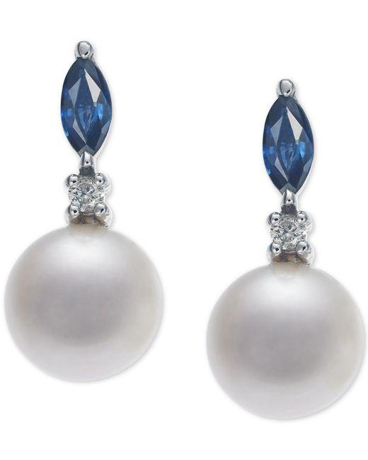 Macy's Metallic Cultured Freshwater Pearl (7mm), Sapphire (1/2 Ct. T.w.) & Diamond Accent Drop Earrings In 14k White Gold