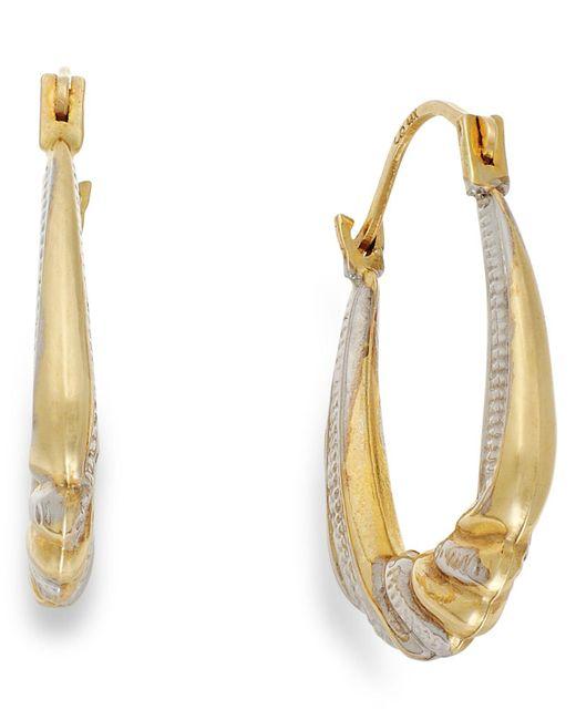 Macy's | Metallic Two-tone Shrimp Hoop Earrings In 10k Gold | Lyst