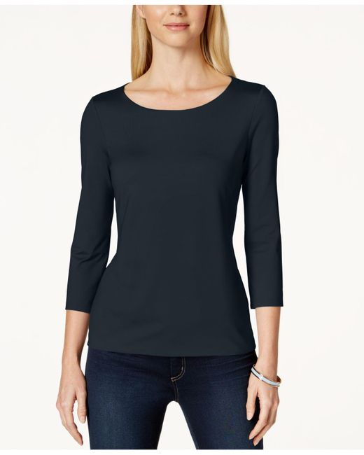 Charter Club | Black Three-quarter-sleeve Top, Only At Macy's | Lyst