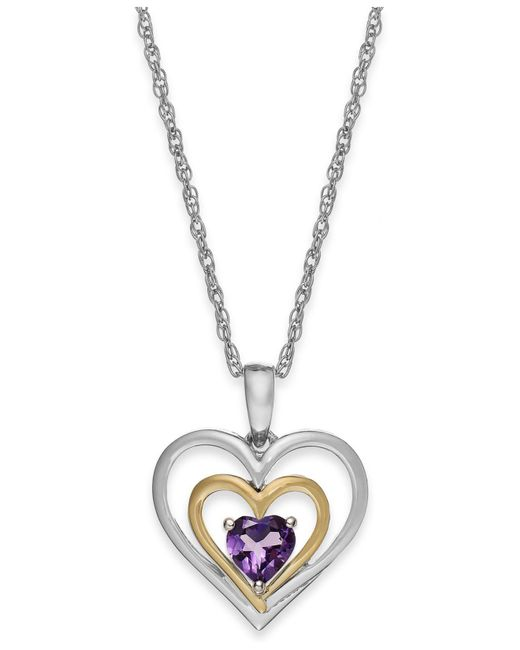 Macy's - Metallic Amethyst Heart Pendant Necklace In 14k Gold And Sterling Silver (3/8 Ct. T.w.) - Lyst