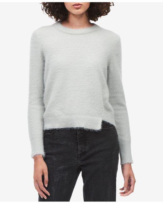 Calvin Klein Jeans | Gray Fuzzy Asymmetrical Sweater | Lyst