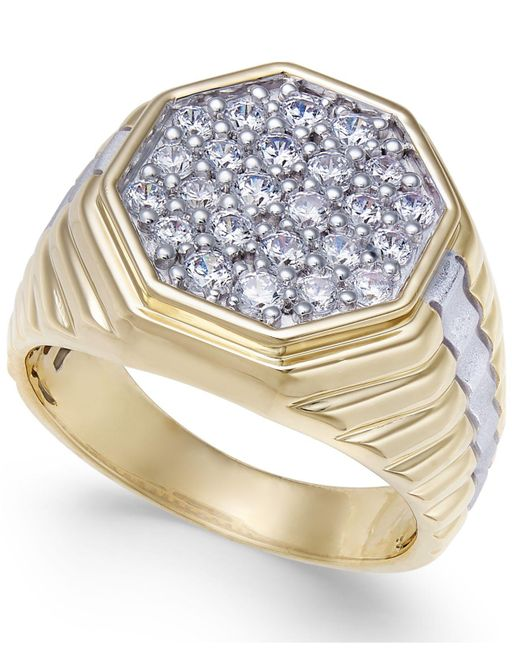 Macy's - Metallic Men's Diamond Two-tone Octagon Cluster Ring (1 Ct. T.w.) In 10k & Rhodium-plate - Lyst