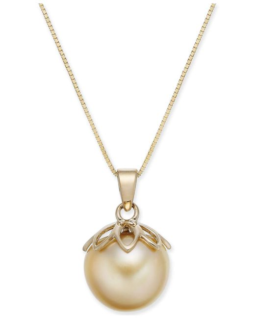"""Macy's - Metallic Cultured Golden South Sea Pearl (10mm) 18"""" Pendant Necklace In 14k Gold - Lyst"""