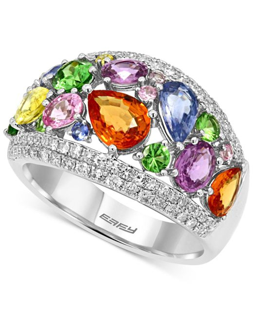 Effy Collection - Multicolor Citrine (2-3/4 Ct. T.w.) And Blue Topaz (2-1/4 Ct. T.w.) Statement Ring In Sterling Silver - Lyst