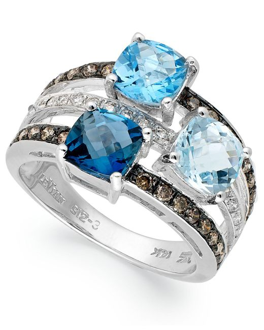 Le Vian - Blue Topaz (2-9/10 Ct. T.w.) And Diamond (3/8 Ct. T.w.) 3 Stone Ring In 14k White Gold - Lyst