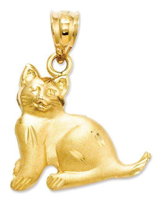 Macy's - Metallic 14k Gold Charm, Cat Charm - Lyst