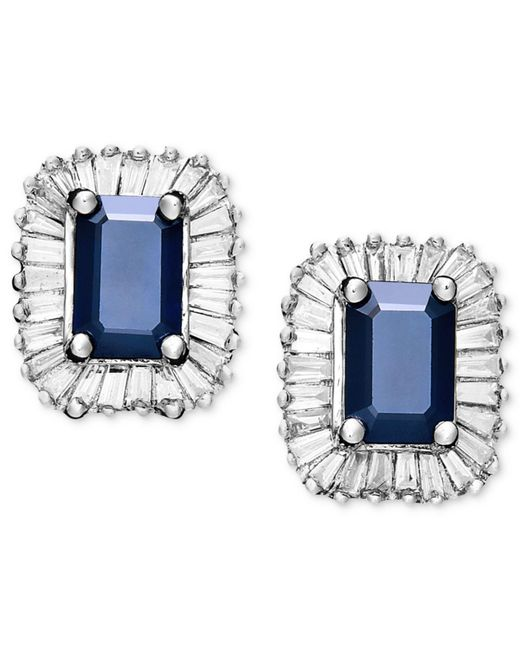 Effy Collection | Blue Sapphire (1-1/3 Ct. T.w.) And Diamond (5/8 Ct. T.w.) Rectangle Stud In 14k White Gold | Lyst