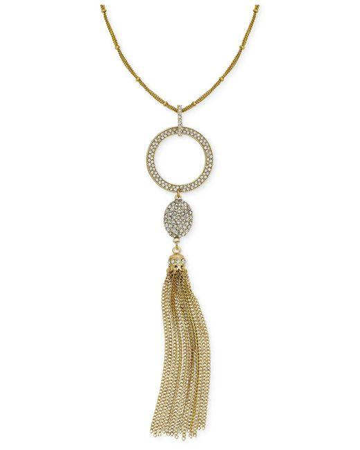INC International Concepts - Metallic Rose Gold-tone Pavé Circle Pendant Tassel Necklace - Lyst