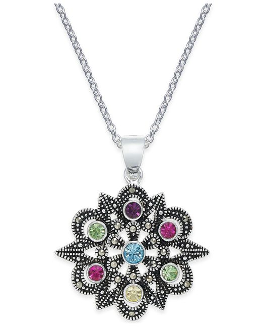 Macy's - Metallic Marcasite & Colored Crystal Openwork Pendant Necklace In Silver-plate - Lyst