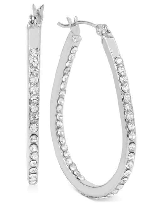Touch Of Silver | Metallic Small Oval Crystal Hoop Earrings In Silver-plated Brass | Lyst