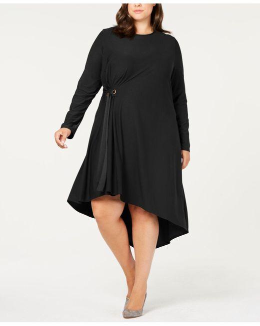 Lyst Love Scarlett Plus Size Asymmetrical Side Tie Dress In Black