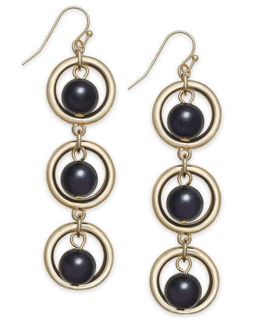 INC International Concepts - Black I.n.c. Gold-tone Circle & Ball Linear Drop Earrings, Created For Macy's - Lyst