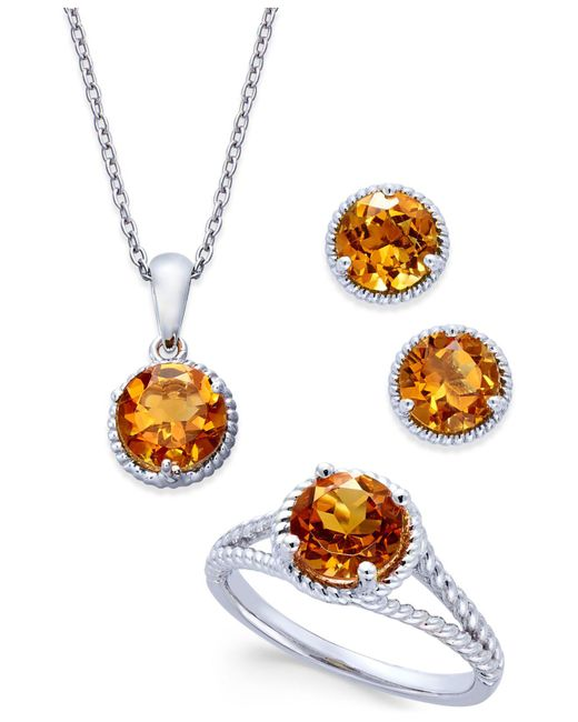 Macy's - Yellow Citrine Rope-style Pendant Necklace, Stud Earrings And Ring Set (4 Ct. T.w.) In Sterling Silver - Lyst