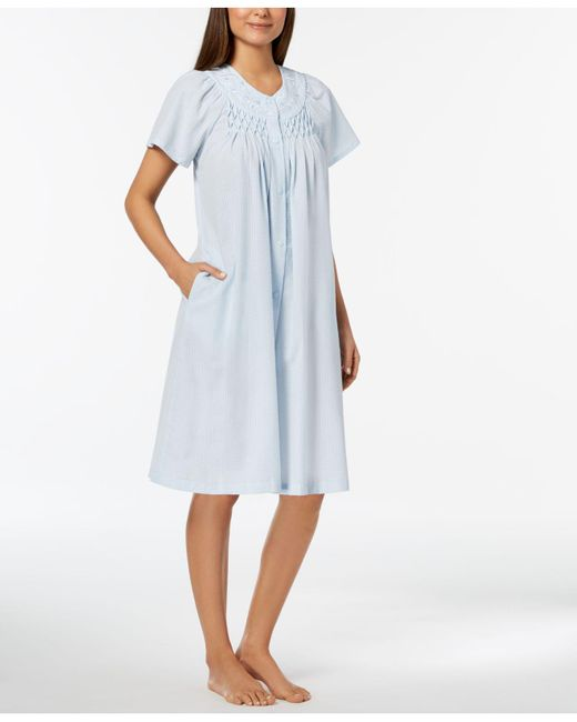 Miss Elaine - Blue Woven Embroidered Robe - Lyst