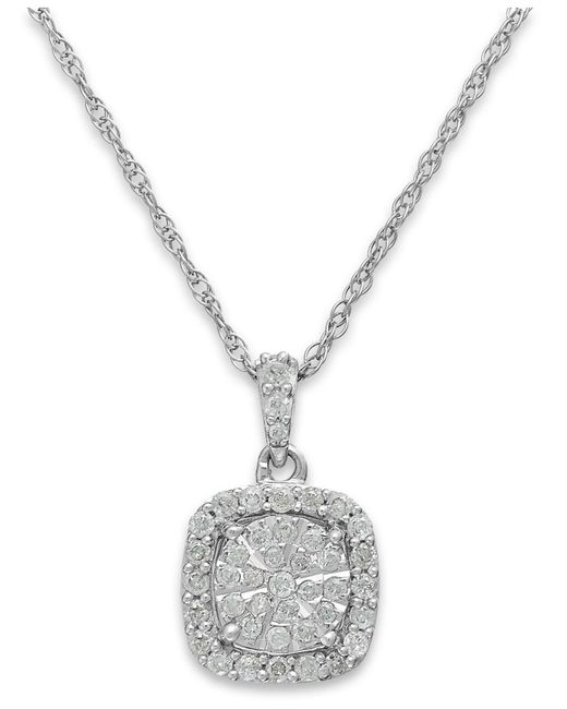 Macy's | Metallic Diamond Cushion Pendant Necklace In Sterling Silver (1/3 Ct. T.w.) | Lyst