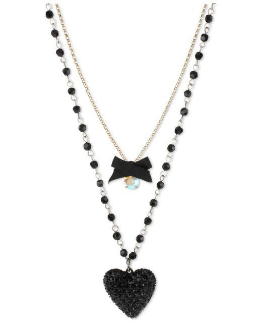 Betsey Johnson | Metallic Gold-tone Black Glitter Heart Two-row Necklace | Lyst