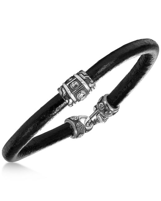 Scott Kay - Men's Black Leather Bracelet With Sterling Silver Accents - Lyst