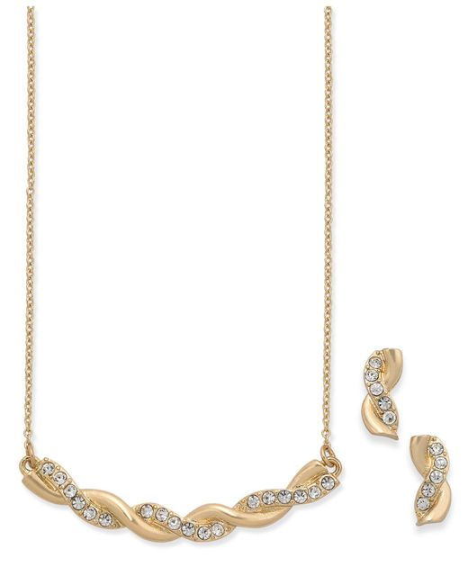 Charter Club - Metallic Gold-tone Twisted Pavé Statement Necklace And Stud Earrings Se - Lyst