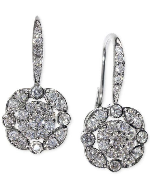 Macy's | Metallic Diamond (5/8 Ct. T.w.) Leverdrop Cluster Earrings In White Gold | Lyst