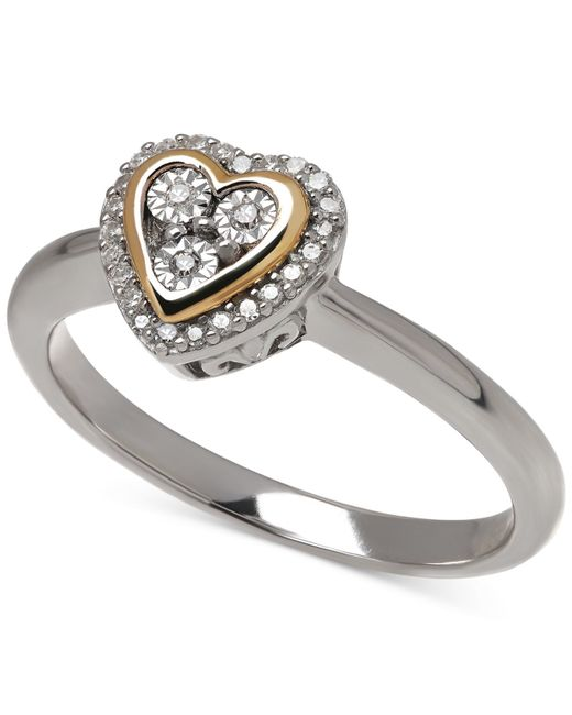 Macy's | Metallic Diamond (1/10 Ct. T.w.) Heart Ring In 14k Gold Over Sterling Silver | Lyst