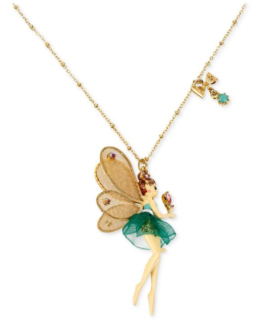 Betsey Johnson - Metallic Antique Gold-tone Fairy And Bow Pendant Necklace - Lyst