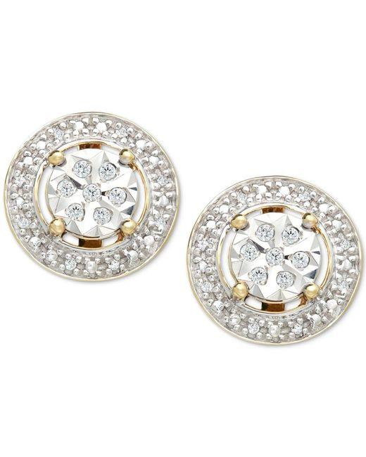 Macy's | Metallic Diamond (1/10 Ct. T.w.) Halo Stud Earrings In 10k Gold | Lyst