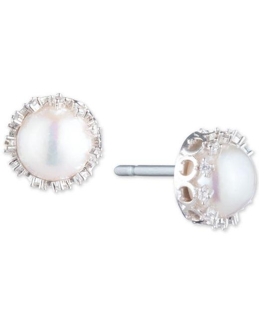 Carolee - Metallic Silver-tone Crystal & Freshwater Pearl (10mm) Filigree Stud Earrings - Lyst