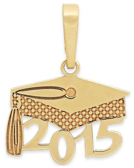Macy's   Metallic 2015 Graduation Cap Charm Pendant In 14k Gold And 14k White Gold   Lyst