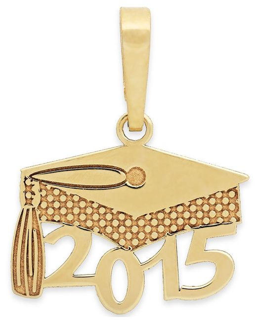 Macy's | Metallic 2015 Graduation Cap Charm Pendant In 14k Gold And 14k White Gold | Lyst