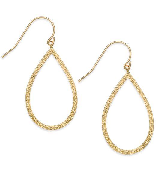Macy's | Metallic Textured Teardrop Drop Earrings In 14k Gold | Lyst