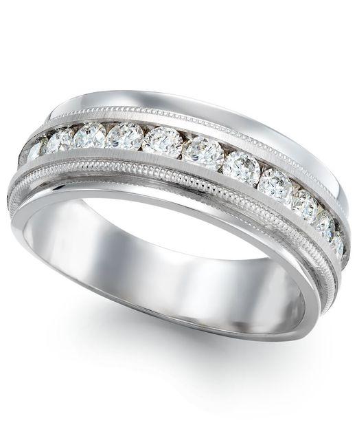 Macy's | Metallic Men's Diamond Milgrain Trim Ring In 14k White Gold (1 Ct. T.w.) for Men | Lyst