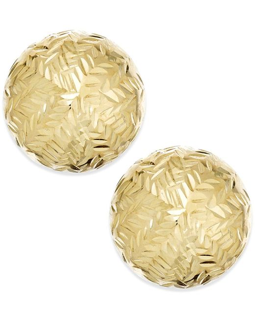Macy's | Metallic Chevron-cut Ball Stud (8mm) Earrings In 14k Gold | Lyst