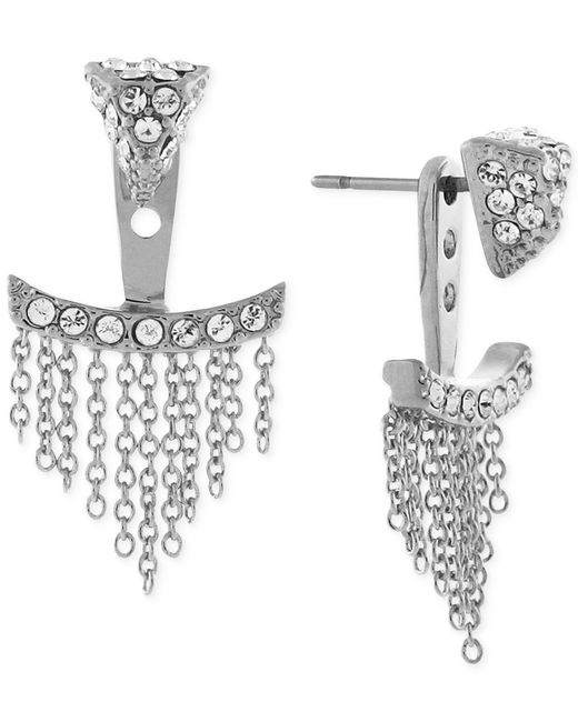 Vince Camuto   Metallic Silver-tone Pave Triangle And Chain Fringe Ear Jackets   Lyst
