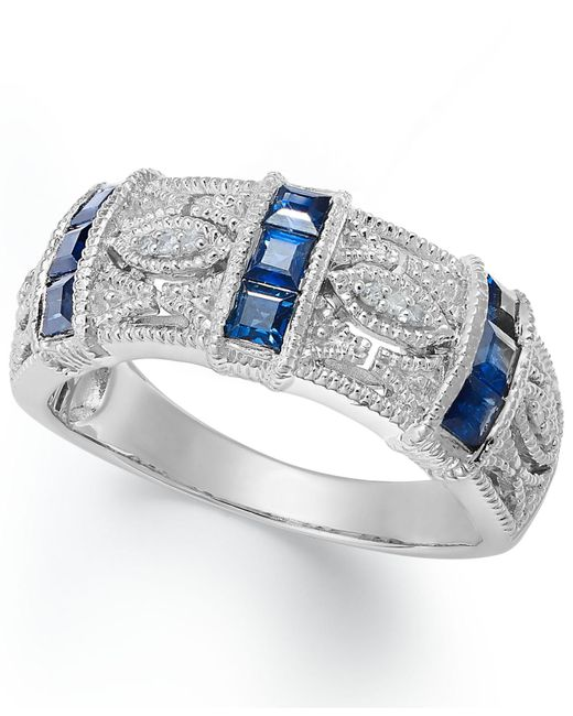 Macy's | Blue Sapphire (3/4 Ct. T.w.) And Diamond Accent Band In Sterling Silver | Lyst