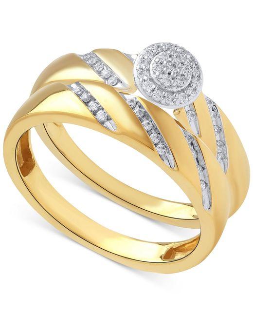 Beautiful Beginnings   Metallic Diamond Halo Ring Set In 14k Gold (1/5 Ct. T.w.)   Lyst