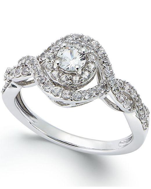 Macy's   Metallic 14k White Gold White Sapphire (3/4 Ct) Ring   Lyst