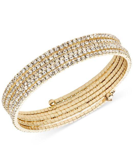 Anne Klein   Metallic Gold-tone Multi-row Rhinestone Flex Bracelet   Lyst