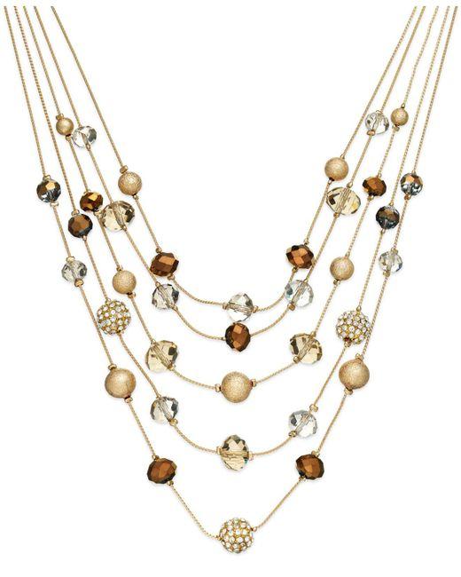 INC International Concepts - Metallic Gold-tone Bronze Bead Illusion Necklace - Lyst