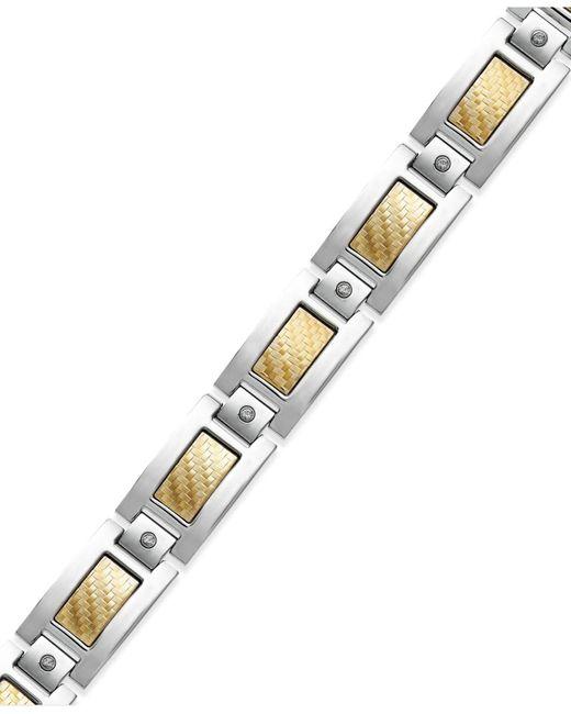 Macy's | Metallic Men's Inlay Diamond Bracelet In Stainless Steel And 18k Gold (1/5 Ct. T.w.) for Men | Lyst