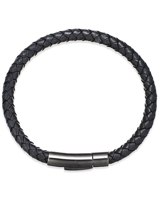 Macy's | Black Men's Woven Leather Bracelet In Stainless Steel for Men | Lyst