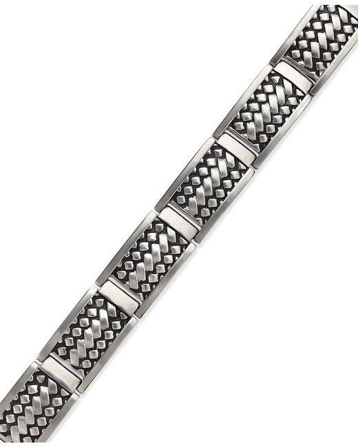 Macy's | Metallic Men's Woven Bracelet In Stainless Steel for Men | Lyst