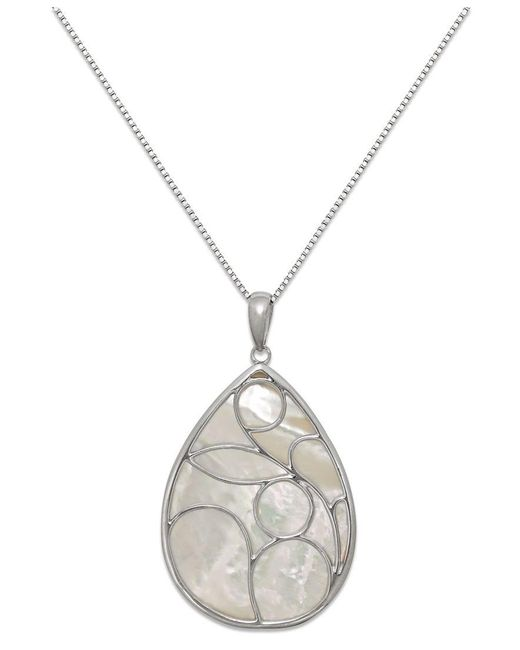 Macy's | Metallic Caged Teardrop Of Genuine White Mother Of Pearl Pendant Set In Sterling Silver | Lyst
