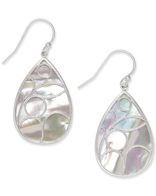 Macy's | White Mother Of Pearl Caged Teardrop Earrings In Sterling Silver | Lyst