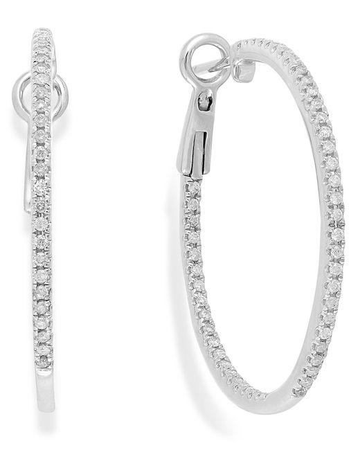Macy's | Metallic Diamond Hoop Earrings In 14k White Gold (1/2 Ct. T.w.) | Lyst