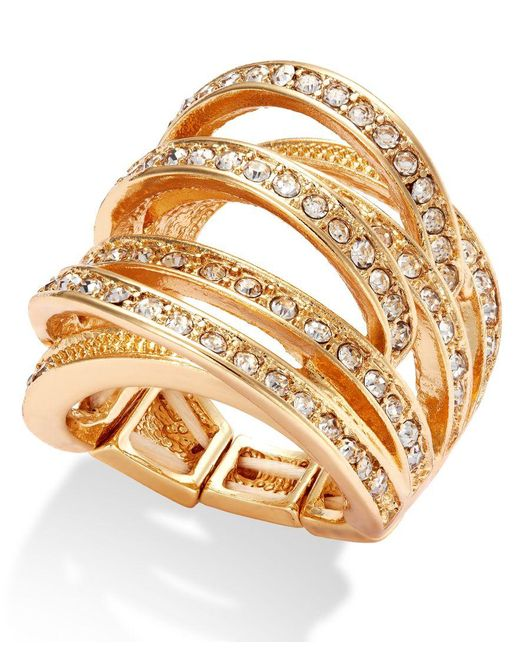 INC International Concepts | Metallic Gold-tone Crystal Crisscross Adjustable Ring | Lyst