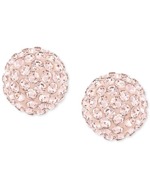 Swarovski | Pink Rose-gold-plated Crystal Stud Earrings | Lyst