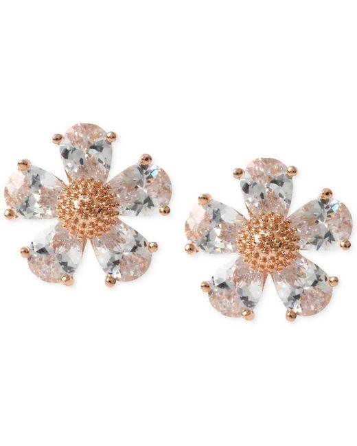 Betsey Johnson   Metallic Gold-tone Crystal Flower Stud Earrings   Lyst