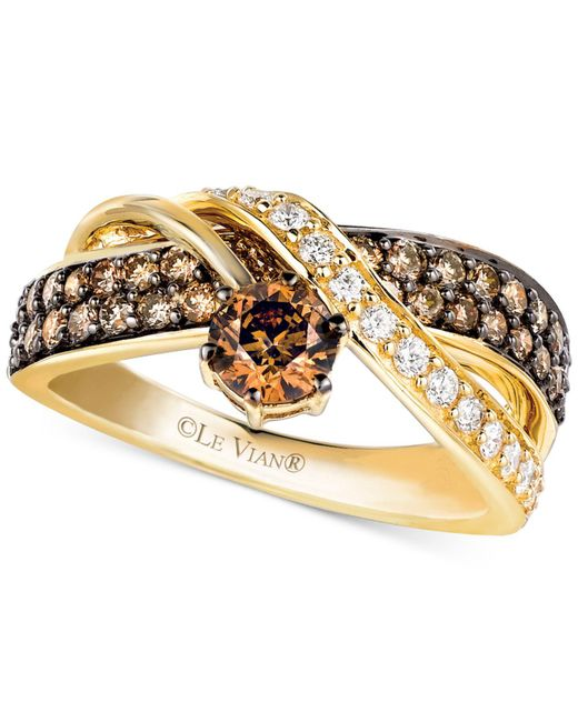 Le Vian - Metallic Chocolate And White Diamond Crossover Ring In 14k Gold (1-1/4 Ct. T.w.) - Lyst