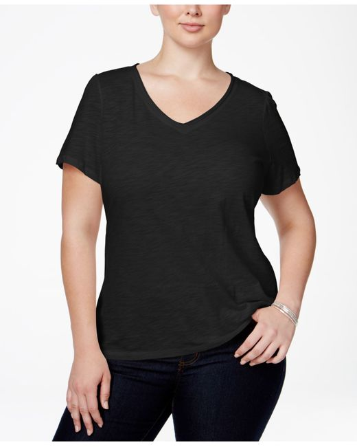 INC International Concepts | Black Plus Size V-neck Tee | Lyst